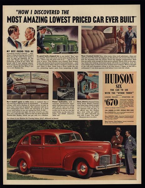 1940 HUDSON SIX Touring 4-Door Red Car VINTAGE AD