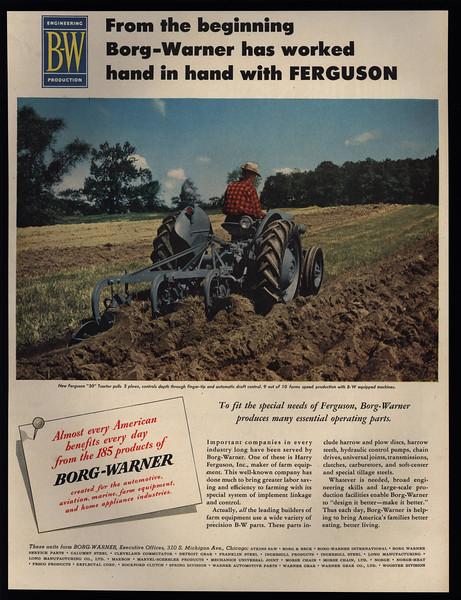 Details about 1952 FERGUSON 30 Tractor Pulls Plow - Farmer - Farm - BORG  WARNER - VINTAGE AD