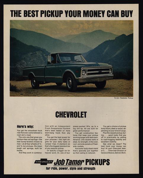 Best 3 4 Ton Truck >> Details About 1968 Chevrolet 3 4 Ton Fleetside Pickup Truck Best Money Can Buy Vintage Ad
