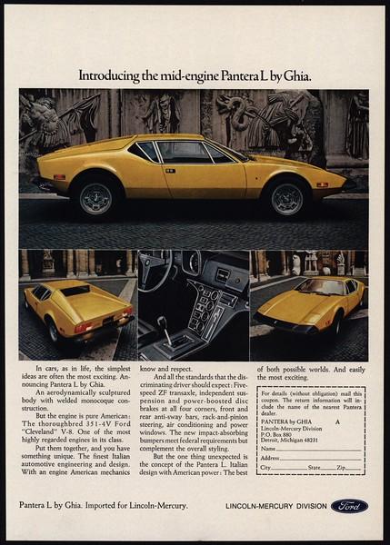 1973 PANTERA L by GHIA Car Vintage Look REPLICA METAL SIGN FORD LINCOLN MERCURY