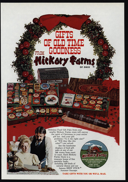 Details about 1974 HICKORY FARMS Of Ohio Christmas Meat & Cheese Gift Packs  - VINTAGE AD