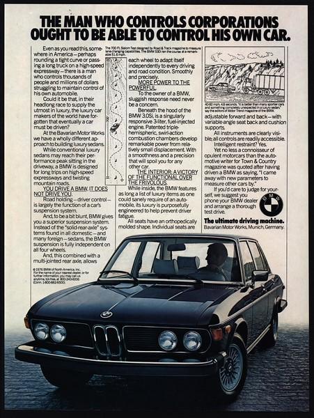 1976 Bmw 530i Black Luxury Car Vintage Magazine Advertisement Ebay
