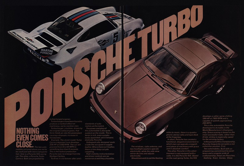 1977 PORSCHE TURBO CARRERA Genuine Vintage Ad ~ 930 ~ 935
