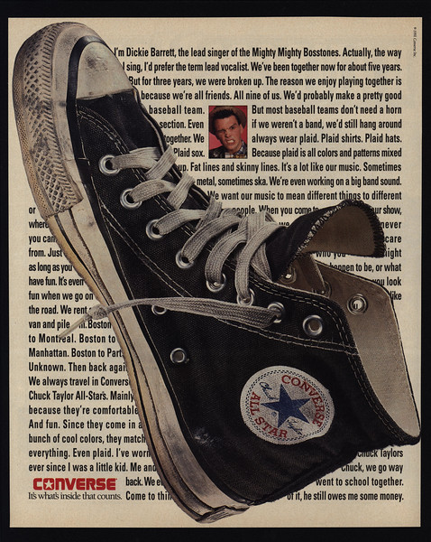 f7b4db2b9444 Details about 1991 MIGHTY BOSSTONES DICKIE BARRETT - CHUCK TAYLOR CONVERSE  Shoes VINTAGE AD