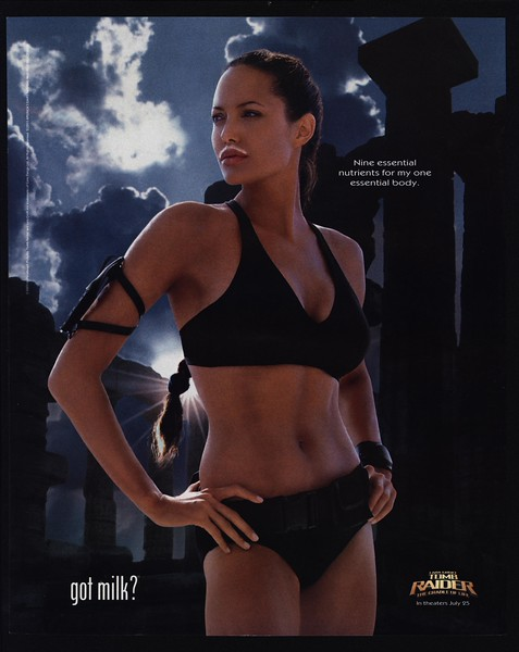 Details About 2003 Angelina Jolie Sexy Lara Croft Tomb Raider Got Milk Vintage Ad